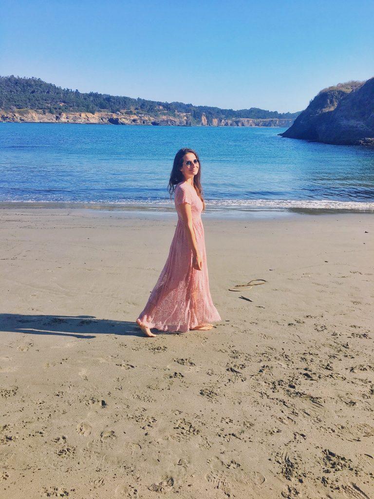 Mendocino beach i ja
