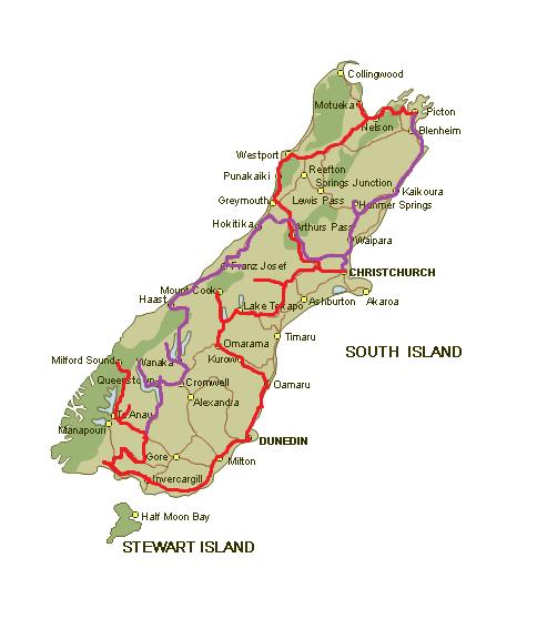 plan podróży po Nowej Zelandii